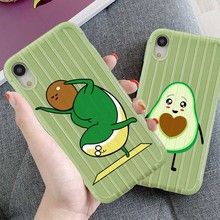 LL Suitcase Texture Phone Case For iPhone X XR XS MAX 8 7 6S 6 S Plus Silicone Cartoon Lovely Avocado Soft Green Back Cover