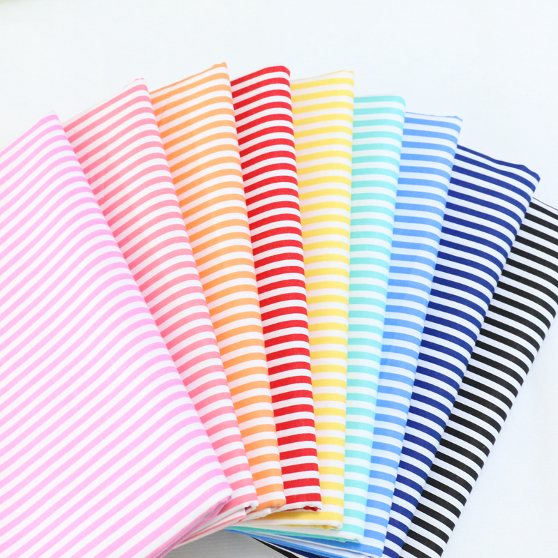 Stripe Series 100% Cotton Twill Fabric For Make Pajamas, Bed Sheets Sewing Quilting Fat Quarters Material For Baby&Child
