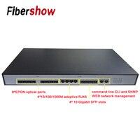 EPON OLT 8PON Ports FTTH CATV OLT Carrier grade high density Fiber Optic High Quality 10G SFP solt professional PX20+ EPON ONU
