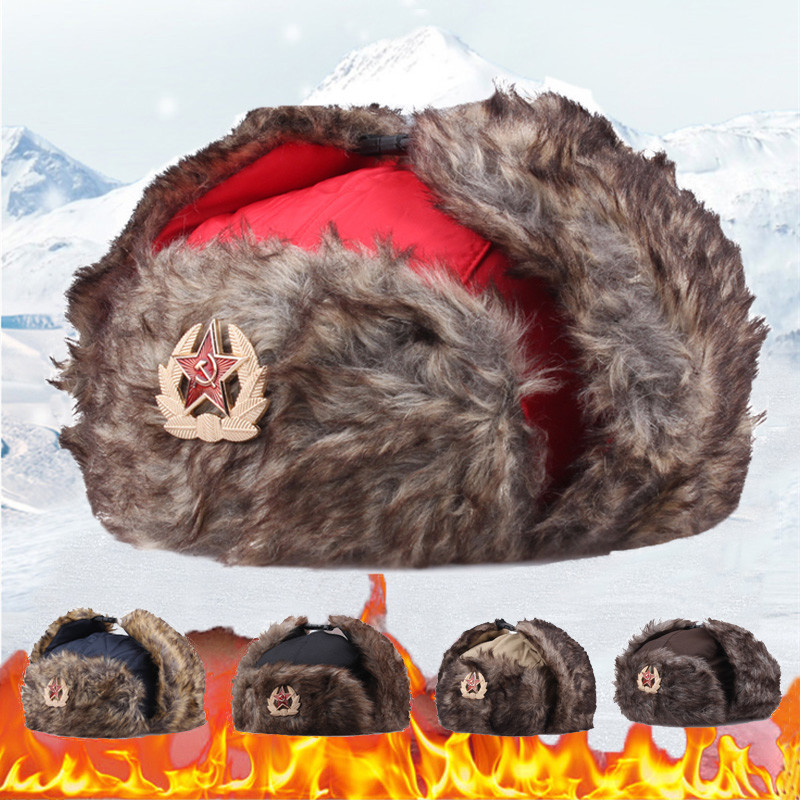 Militar do exército cccp emblema inverno chapéu bomber bonés feminino russo lei feng gorras ao ar livre earflap quente bonnet czapka zimowa osso