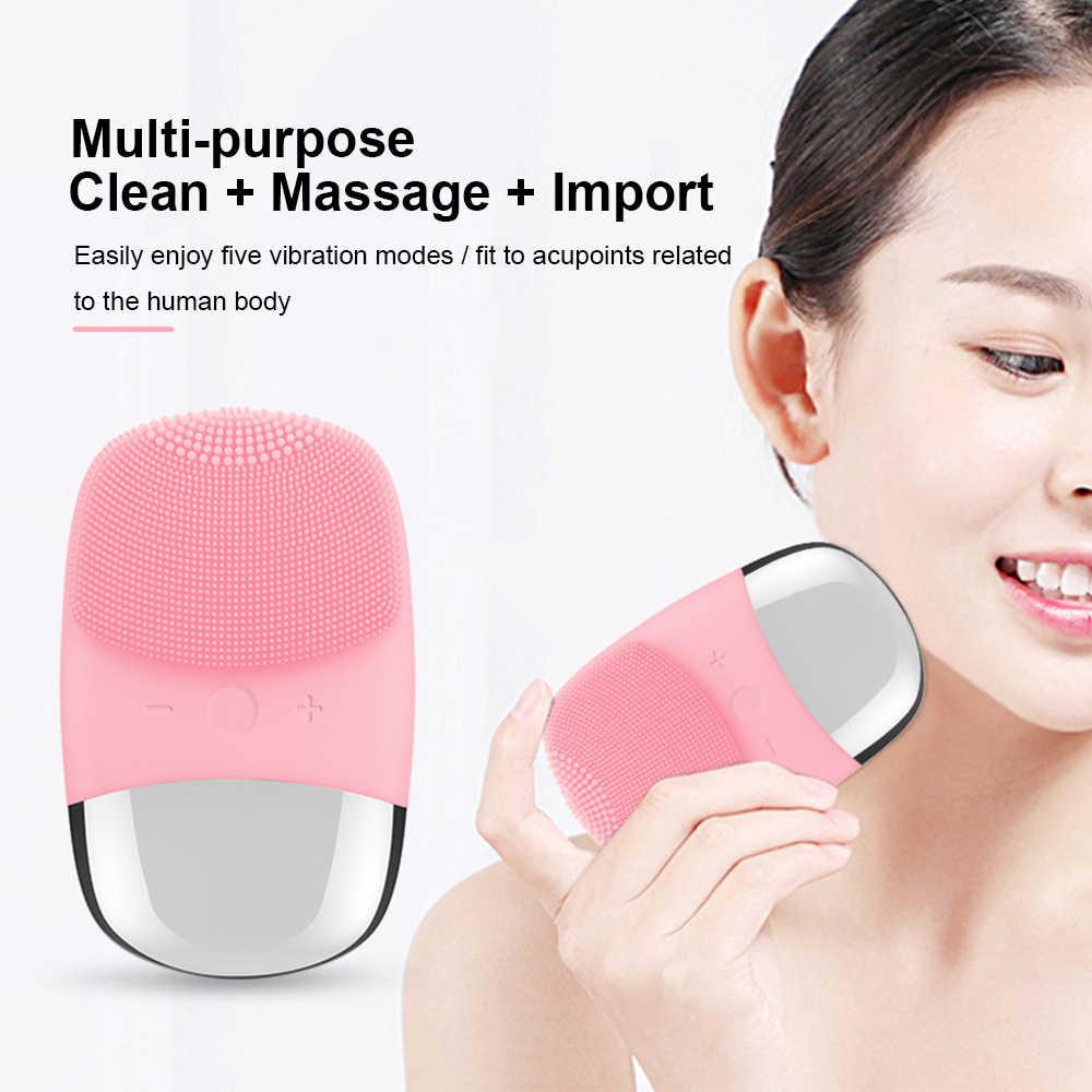 Силиконовая USB щетка для очищения лица, Электрический Вибрационный очиститель для лица, глубокая поры лица, ультразвуковая зубная щетка, косметический инструмент