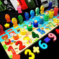 New Multi-function Preschool Wooden Montessori Toys Count Geometric Shape Fishing Game Early Education Teaching Mathematical Toy
