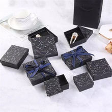 10pcs Paper Cardboard Jewelry Boxes Storage Display Carrying Box For Necklaces Bracelets Earrings Square Rectangle Starry sky