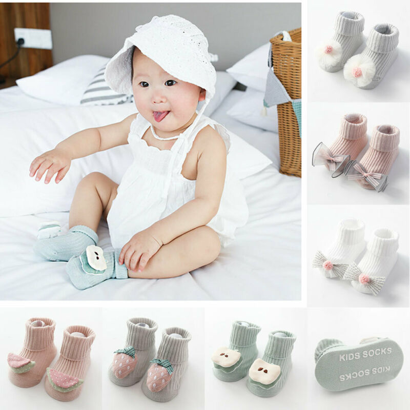 2020 Baby Clothing Toddler Baby Non-Slip Boot Socks Girls Winter Cartoon Warm Shoes 3D Cartoon Fruit Winter Warm House Shoes