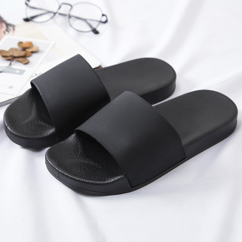 Men Beach Slippers Unisex Black Slides Summer Shoes Bathroom Flat Sandals Indoor Female Casual Shoes Zapatos Mujer Size 36-45