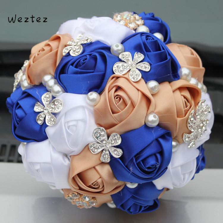 Weztez Bridal Bouquets Flower Crystal Pearls Bridesmaid Bridal Wedding Bouquets Silk Artificial SPH120