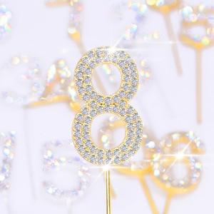 1Pc Glitter Alloy Rhinestone Number Cake Toppers Baby Shower Birthday Decoration Wedding Gold Silver Digital Cakes Dessert Decor