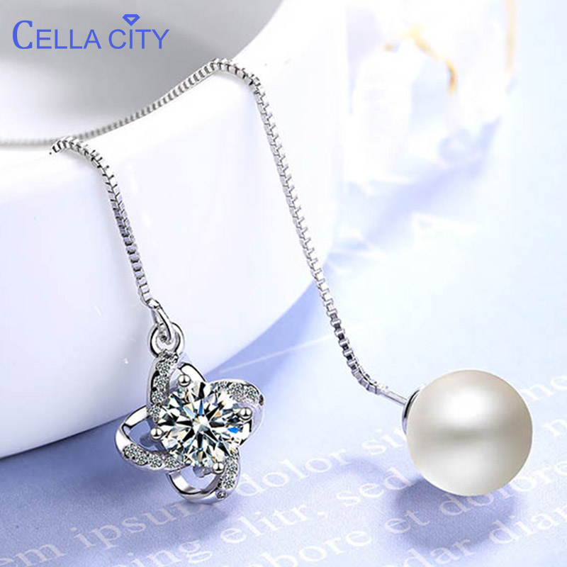Cellacity 925 Silver Long Drop Earrings For Women With Round Pearl Jewelry Silver Zircon Women Wedding Party Wholesale Gift