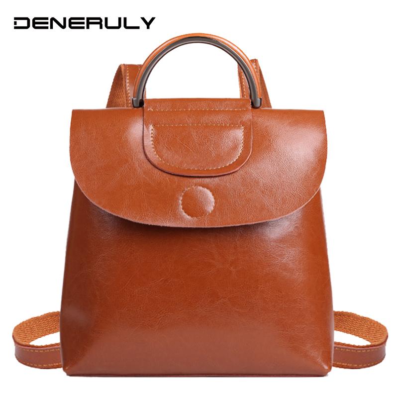 Vintage Genuine Leather Backpack Women Rugtas Large Capacity Sac A Dos Femme En Cuir Black School Bags For Teenage Girl Rucksack