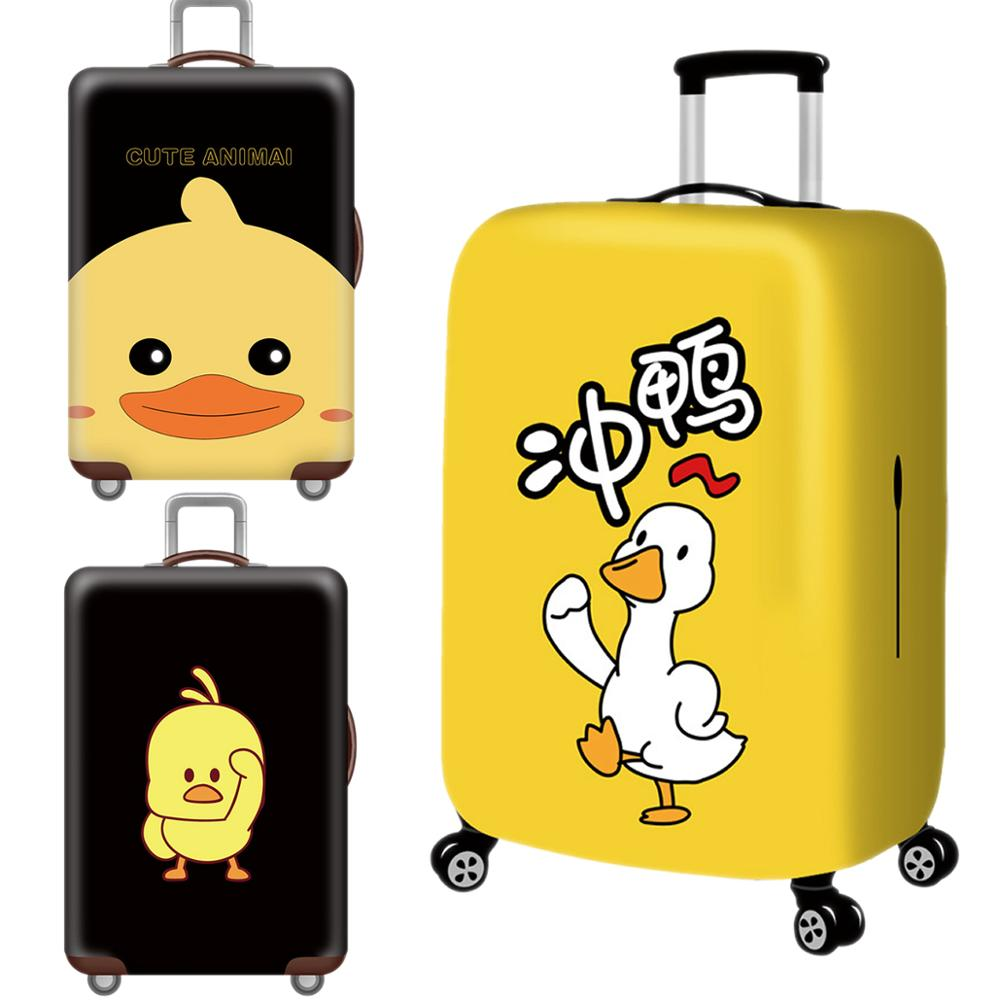 Kawaii Little Duck Luggage Cover Protective Case Thicken Waterproof Elastic 3D Suitcase Cover XL 18-32 Ince Travel Accessorie