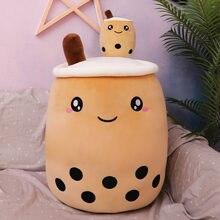 Cojín trasero suave de dibujos animados, almohada en forma de taza con tubos de succión, regalo de comida, boba, 25cm