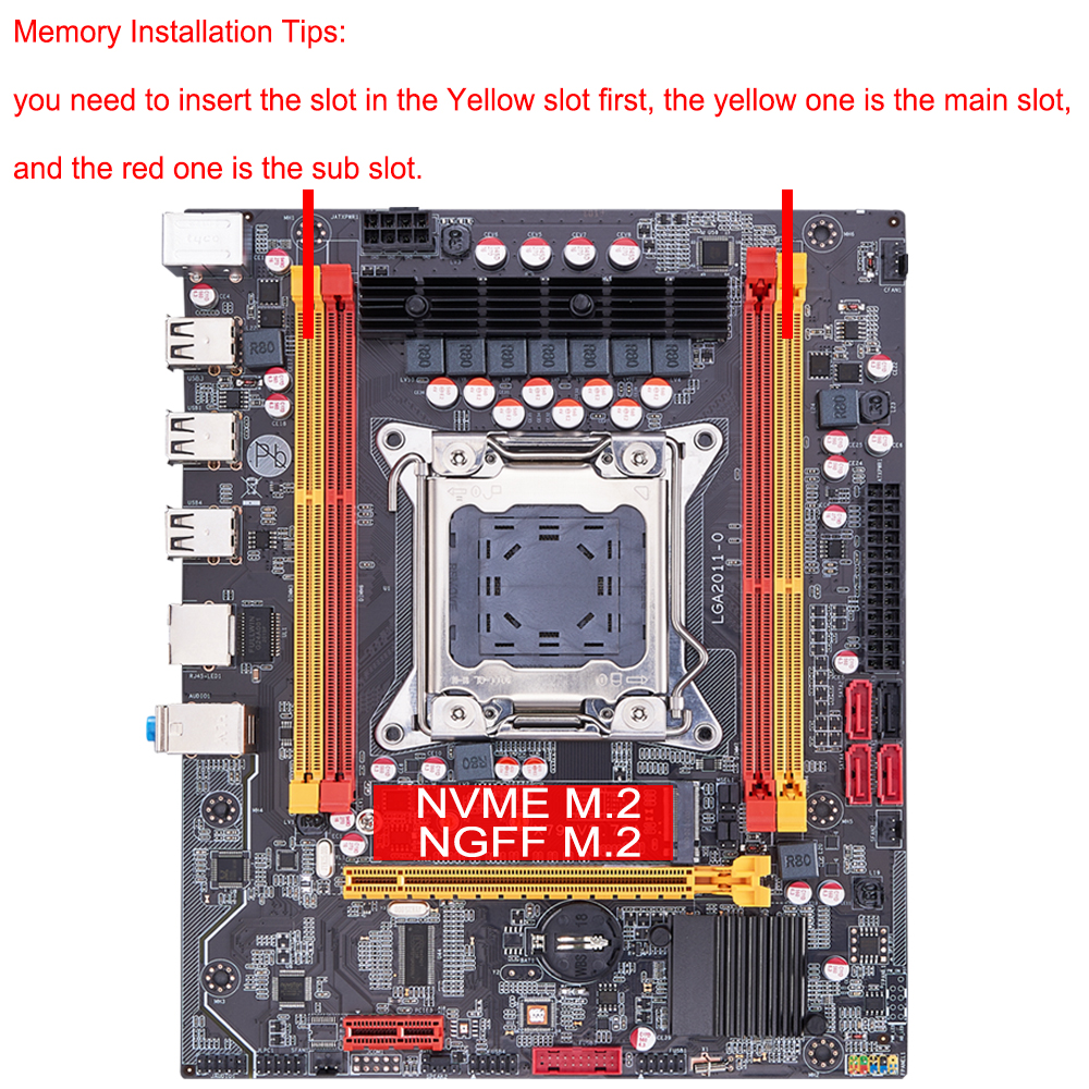 QIYIDA X79 motherboard LGA 2011 USB2.0 SATA3 Dual protocol m.2 support REG ECC memory and Xeon E5 processor DDR3 x79 6M 5