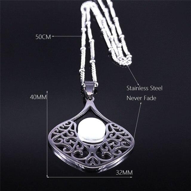 Collar bohemio de acero inoxidable con piedra lunar y flor para mujer gargantilla de Color plateado
