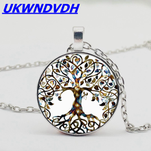 2019 new tree of life pendant necklace, punk style crystal necklace for men and women necklace gorgeous heart life tree pendant necklace for women