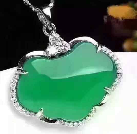 Gelo Natural Calcedônia verde Ruyi Pingente Colar Sorte Camisola Cadeia Mulheres Moda Jades Jóias 925 sliver