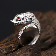 925 sterling silver Ring Cute goldfish natural stone Adjustable Wedding Brand Big ring jewelry sterling 925 silver color ring for women wedding jewelry natural garnet stone statement ring classic rose gold ring jewelry gift
