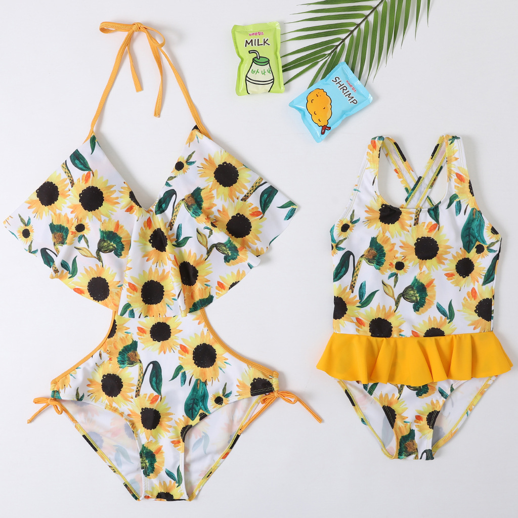 Sun Flower Bikini Swimsuits Mother Daughter Swimwear Mommy And Me Clothes Family Look Mum Mom And Baby Matching Bath Suits Dress