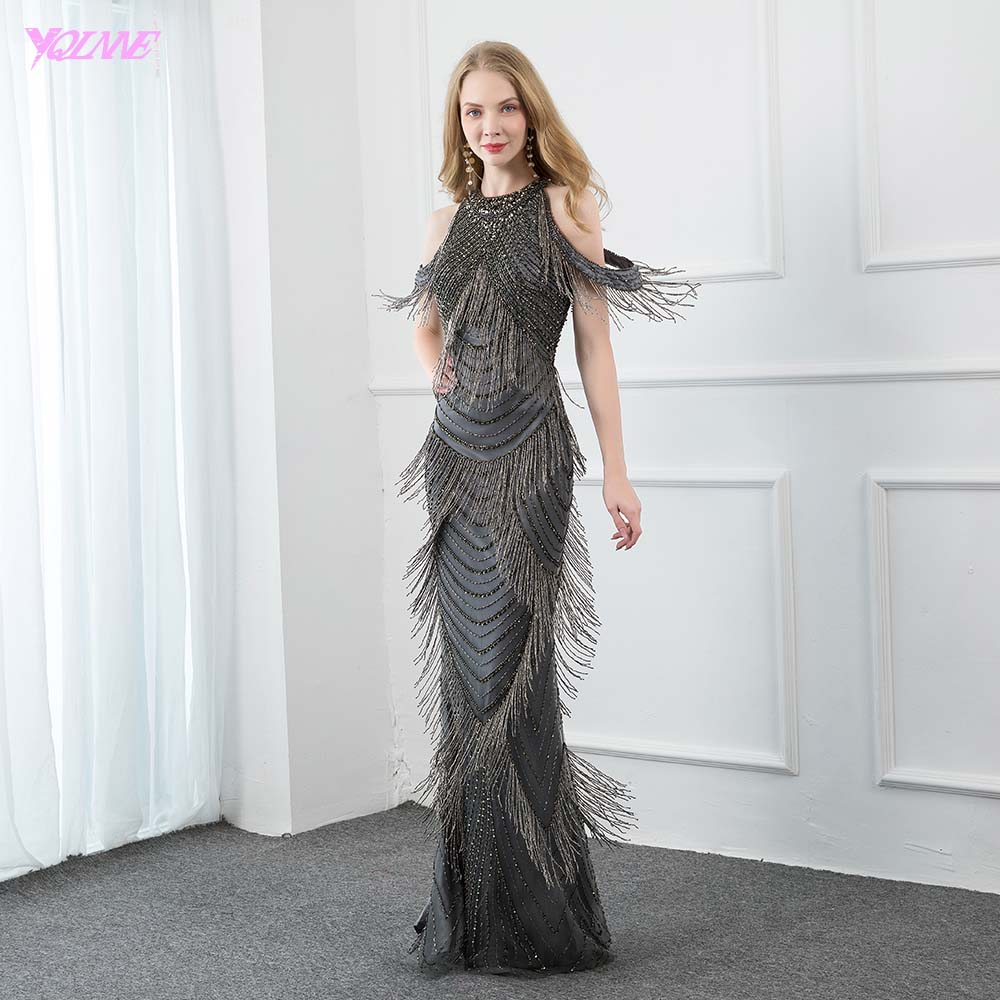YQLNNE Dark Gray Crystal Long Evening Dresses Luxury Mermaid Evening Gown O Neck Beading Pendant Formal Dress