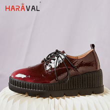 HARAVAL 2019 Classic fashion British women shoes comfortable and simple square head low to help single loafers N112