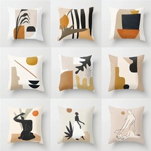 Nordic style abstract geometry ultra short plush pillow set home fabric sofa cushion custom wholesale low price modern nordic fabric home lobby wooden sofa set design for space saving apartment japan style