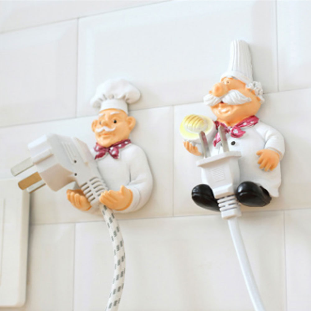 Cartoon Power Cord Storage Rack Chef Plug Hook Strong Adhesive Hook Creative Plug Finishing Bracket  Shelf Holder Wall Mounted