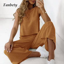 Spring Casual Cotton Linen Women Two Piece Sets Elegant O-Neck Sleeveless Tops And Wide Leg Pants Suit Office Lady Casual Outfit