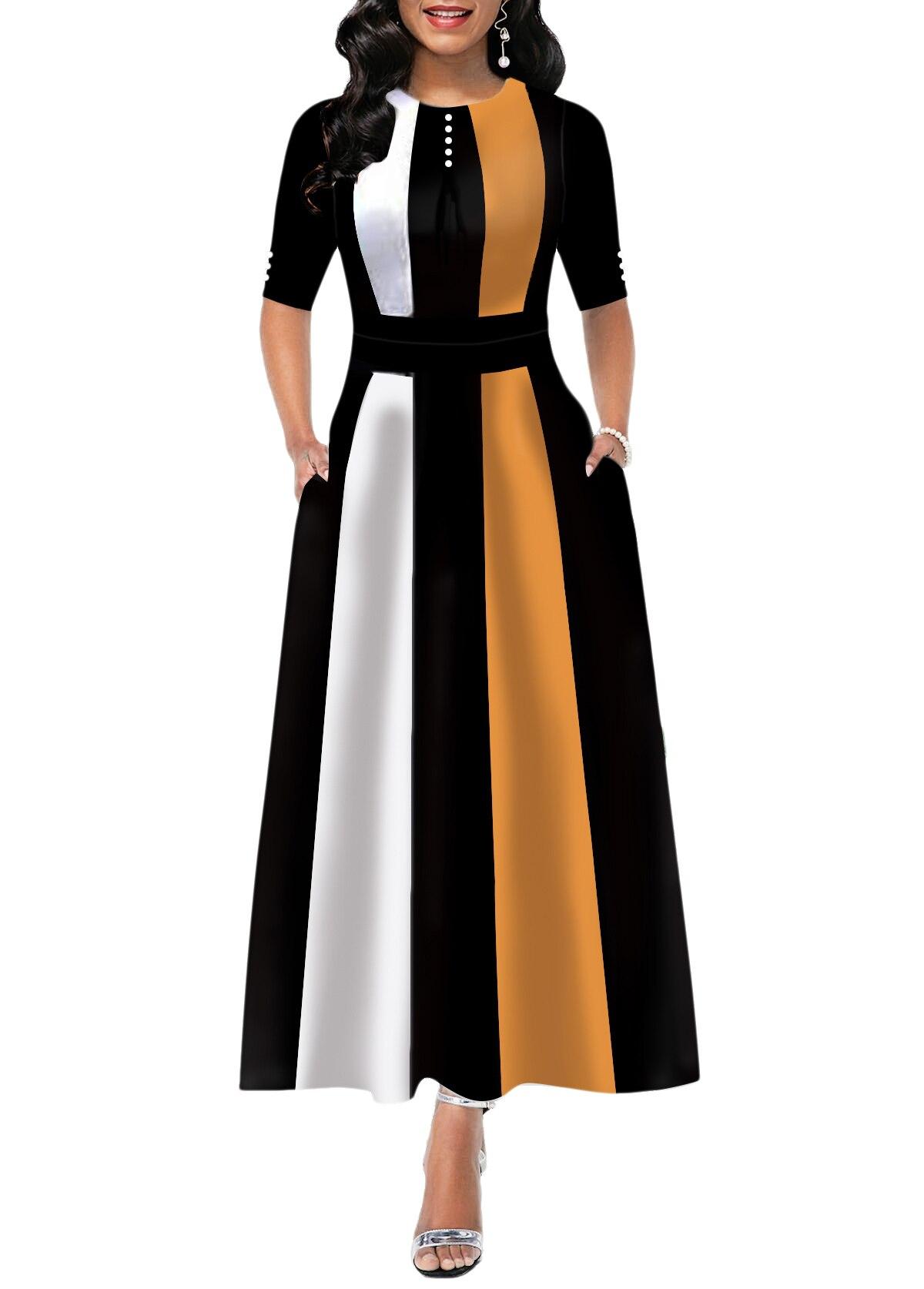 2021 nova moda feminina casual vestido de festa feminina sexy meia mangas listrado vestido longo elegante vestidos de linha a outfits S-2XL