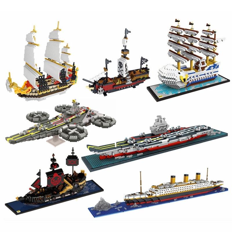 1860pcs NO Match Legoed RS Titanic Pirates Sets Cruise Ship Model Boat DIY Building Diamond Mini Nanoed Blocks Kit Children Kids
