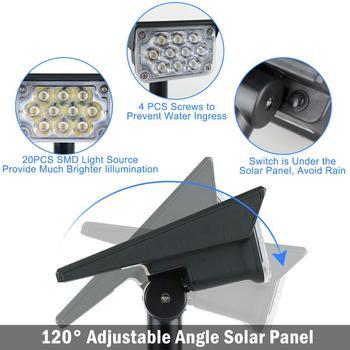 T-SUN 20LED Adjustable Solar Spotlight Solar Garden Light IP65 Super Bright Landscape Wall Light Outdoor Light 6000k Solar Lamp 4