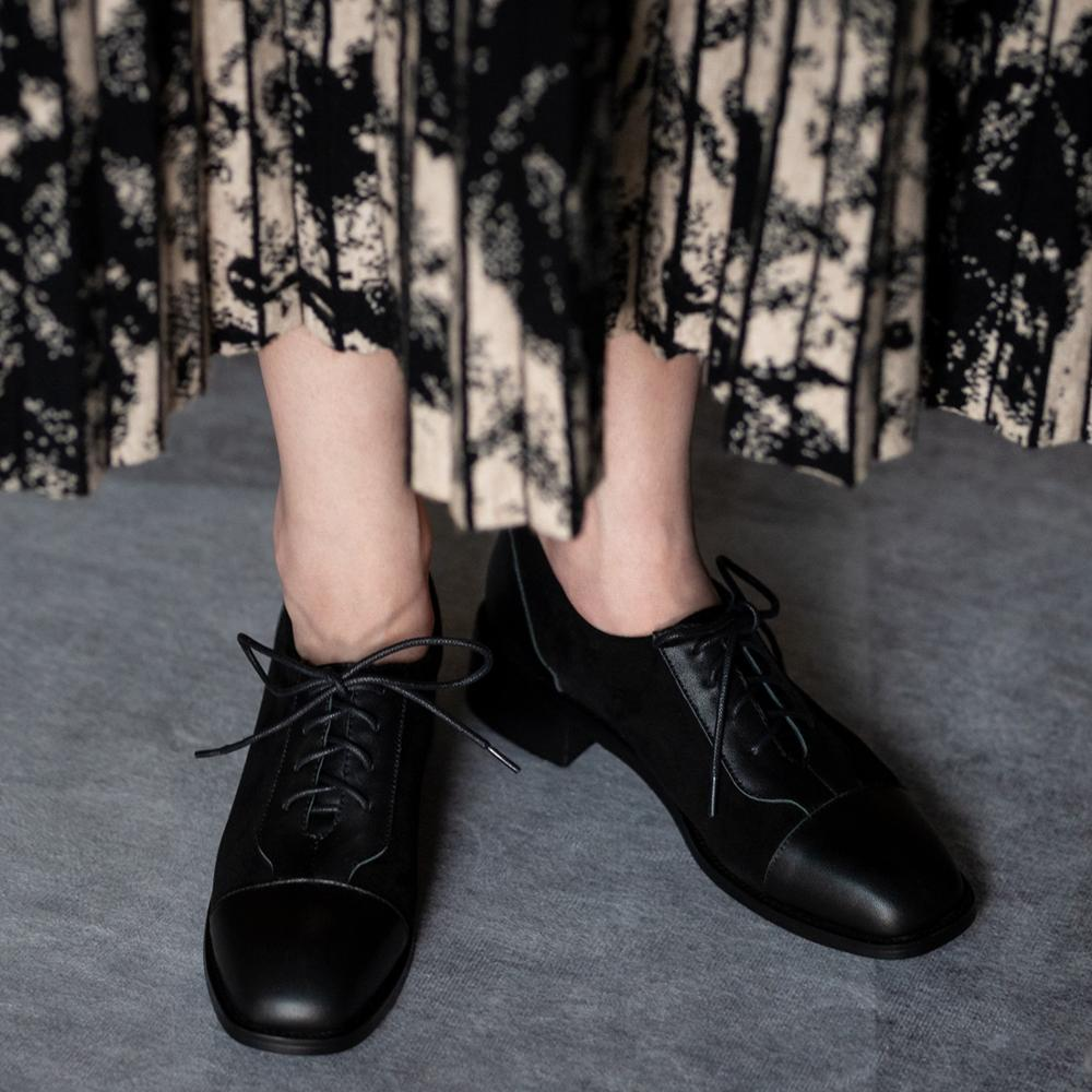 Casual lace-up women's shoes 2020 spring new fashion wild leather thick heel single shoes stitching small leather shoes X103