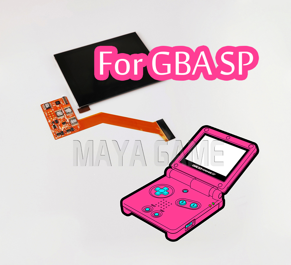 Replacement Highlight IPS LCD Screen For GBA SP Game Console Repair LCD Screen 5-level Brightness Adjustable High Quality