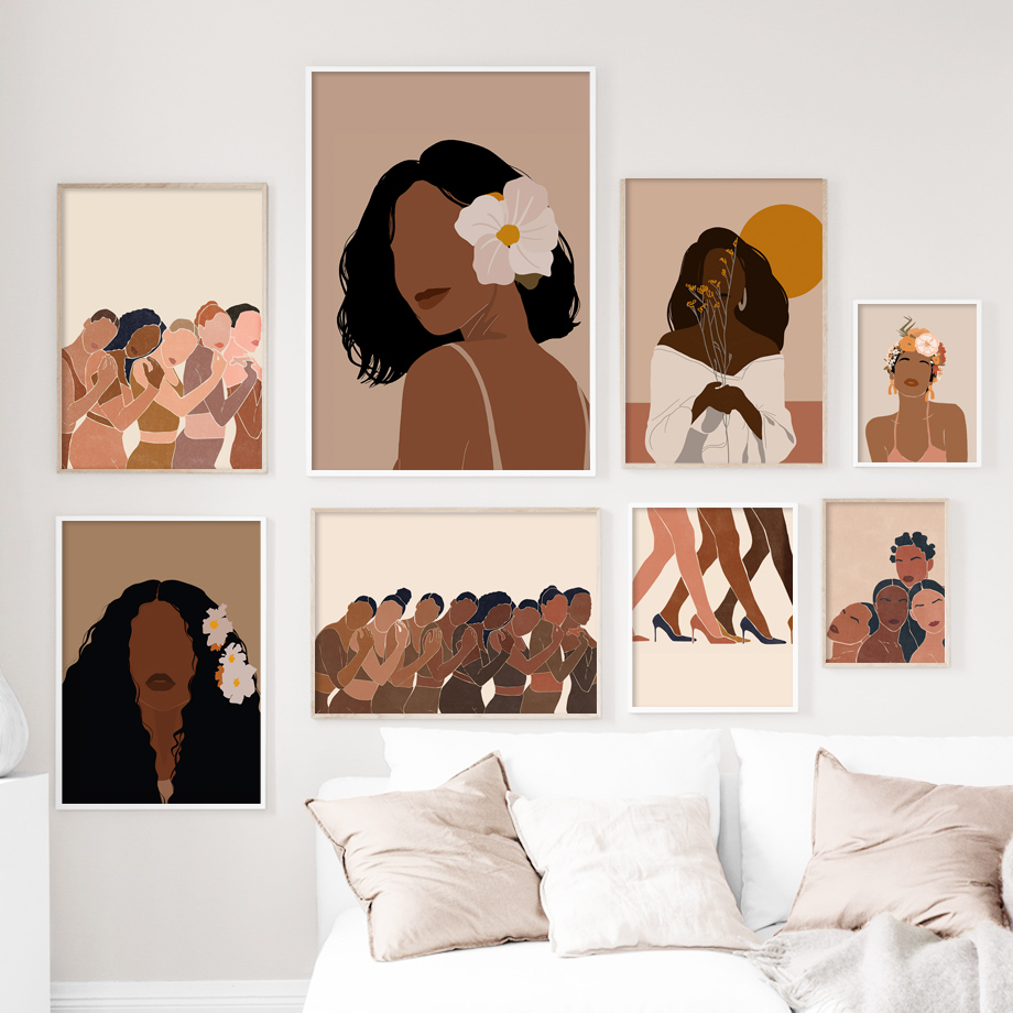 Black Girl Woman Illustration African Wall Art Canvas Painting Nordic Posters And Prints Wall Pictures For Living Room Decor