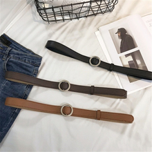Korean version of the fashion simple wild thin belt pants tide black no hole round buckle student female