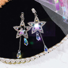 2019 new arrival crystal vintage water drop women dangle earrings Pentagram korean eardrop long