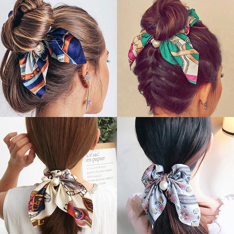 Mousseline de soie Cheveux Chouchous Femmes Mode Perle élastique pour queue de cheval Cheveux Cravate Cheveux Corde Élastiques Cheveux Accessoires couvre-chef en noeud 1