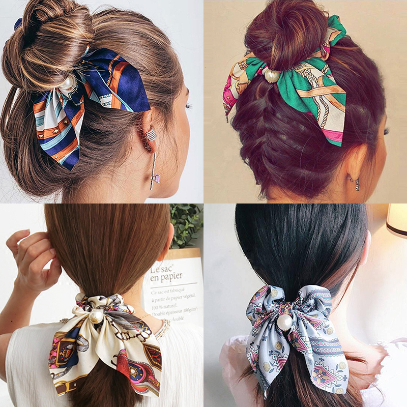 Chiffon Hair Scrunchies Women Fashion Pearl Ponytail Holder Hair Tie Hair Rope Rubber Bands Hair Accessories Bowknot Headwear