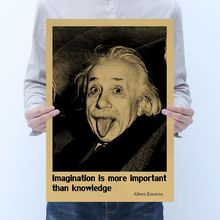 Celebrity Einstein poster room decoration vintage kraft paper poster cafe decoration painting wall sticker