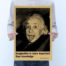 Celebridad afiche de Einstein decoración de la habitación de papel kraft clásico cartel cafe decoración cuadro adhesivo para pared
