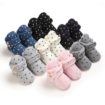 Newborn Baby Boy Girls Solid Warm Star Shoes Winter Autumn Cute Love Design Cotton Kids Ankle Boots Children Soft Toddler Shoes image
