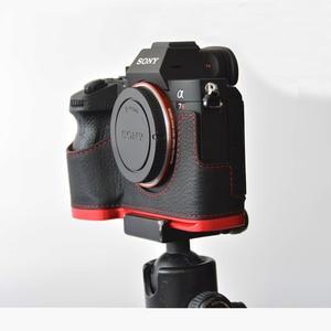 Image 1 - עור אמיתי מקרה מצלמה תיק מעטפת כיסוי עבור Sony A7R MarkIII A7M3 A7RIII A9 יד גריפ מחזיק אלומיניום שחרור מהיר L פלאט