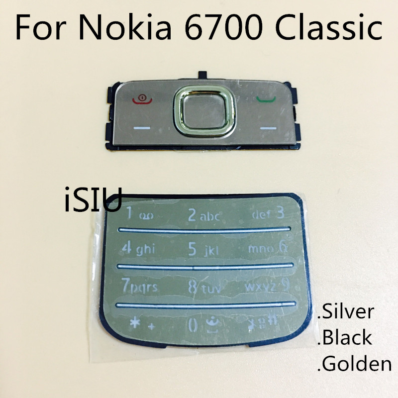 Keyboard For <font><b>Nokia</b></font> <font><b>6700</b></font> Classic <font><b>Housing</b></font> Keypad Mobile Phone 6700C Keyboard English Russian Keypad Repair Replacement Parts New image