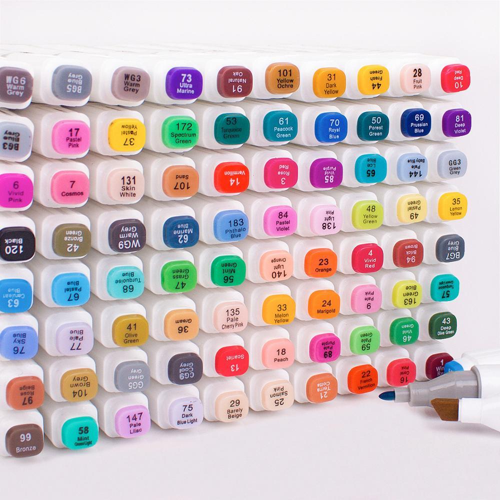 الكحول أساس علامات Touchfive لرسم رسم رسم مجموعة أقلام تحديد المزدوج تلميح 30/40/60/80/168 ألوان أقلام تلوين للمدرسة