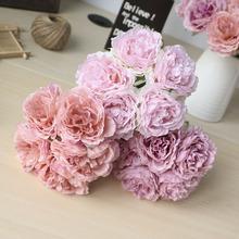 Tanie 5 duża główka różowa jedwabna hortensja sztuczne kwiaty ślubne kwiaty panny młodej chusteczka kwiaty kwitnące piwonia sztuczne kwiaty tanie tanio NoEnName_Null 2340 Bukiet kwiatów Ślub Jedwabiu