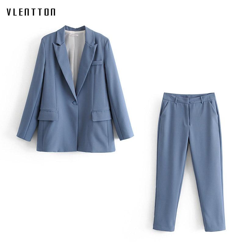 Autumn OL Work Pants Suit Women Single Button Office Lady Blazer Jacket Coat + Zip Trouser Blue Pink 2 Piece Set Female Outwear