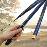 3.6m 4.5 5.4 6.3 7.2 ultra leve azul duro telescópico vara de pesca de fibra carbono pólo mão para carpa vara de pesca alimentador pesca