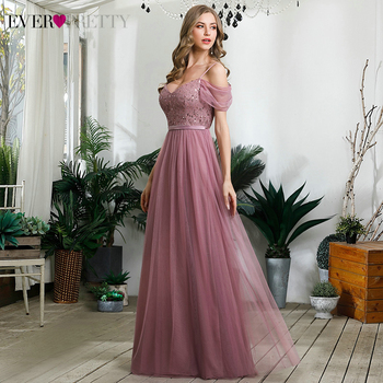 Elegant Dusty Pink Evening Dresses Ever Pretty Sequined A-Line Spaghetti Straps Tulle Sparkle Evening Gowns Abiye Gece Elbisesi 3