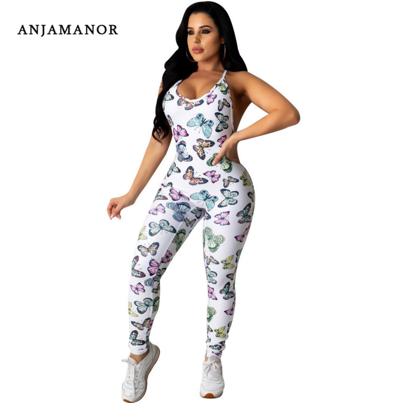 ANJAMANOR Butterfly Print Sexy Summer Jumpsuit 2020 Clubwear Backless Cross Bodycon One-piece Jumpsuits Sports Wear D35-AB86