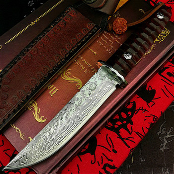 PEGASI Japan vacuum forging Damascus steel G10 steel core high hardness straight knife hunting knife mahogany tactical knife damascus steel outdoor tactical straight knife boutique collection knife high hardness self defense straight knife