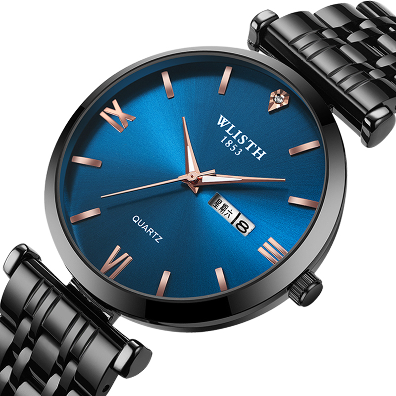 WLISTH Couple Watch Luxury Rhinestone Stainless Steel Quartz Watches Business Watch Japanese Quartz Movement Relogio Feminino