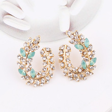 LUBOV Bohemia Handmade Crystal Acrylic Leaf Stud Earring For Women Date Gift Wholesale Jewerly